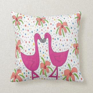 Floral Flamingo Fiesta Throw Pillow クッション