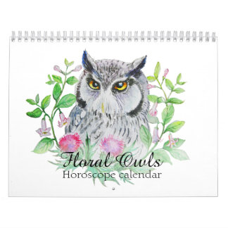 Floral owls Your flower horoscope sign カレンダー