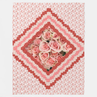 Floral Throw, Pink Roses framed in pinks & corals フリースブランケット