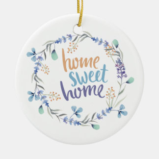Floral Watercolor Wreath Home Sweet Home セラミックオーナメント