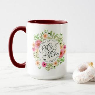 Floral Wedding Combo Mug美しい氏および夫人 マグカップ