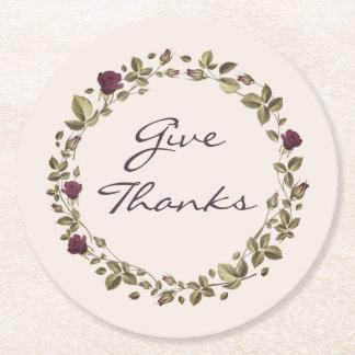 Floral Wreath Give Thanks Thanksgiving Coasters ラウンドペーパーコースター