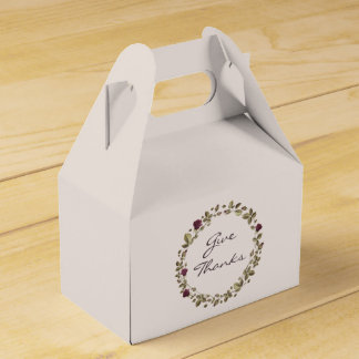 Floral Wreath Give Thanks Thanksgiving Favor Box フェイバーボックス