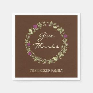Floral Wreath Give Thanks Thanksgiving Napkins スタンダードカクテルナプキン