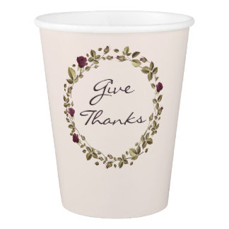 Floral Wreath Give Thanks Thanksgiving Paper Cup 紙コップ