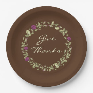 Floral Wreath Give Thanks Thanksgiving Paper Plate ペーパープレート