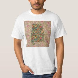 Floralbamaアラバマの州の花柄のボーダーTシャツ Tシャツ