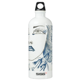 Flower青い女性 ウォーターボトル