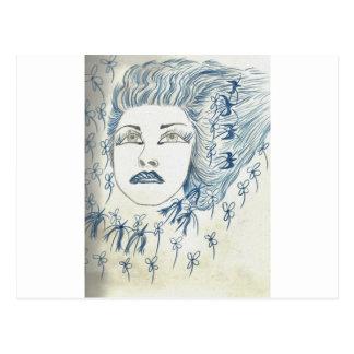 Flower青い女性 ポストカード
