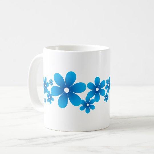 Flower Line A Type Blue コーヒーマグカップ