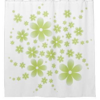 Flower Line D Type Green シャワーカーテン