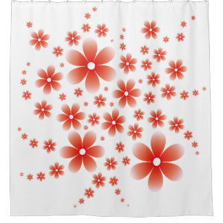 Flower Line D Type Red シャワーカーテン