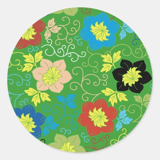 flower pattern ラウンドシール