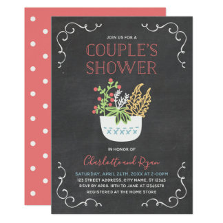 Flower Pot Chalkboard Couple's Shower Invitation カード