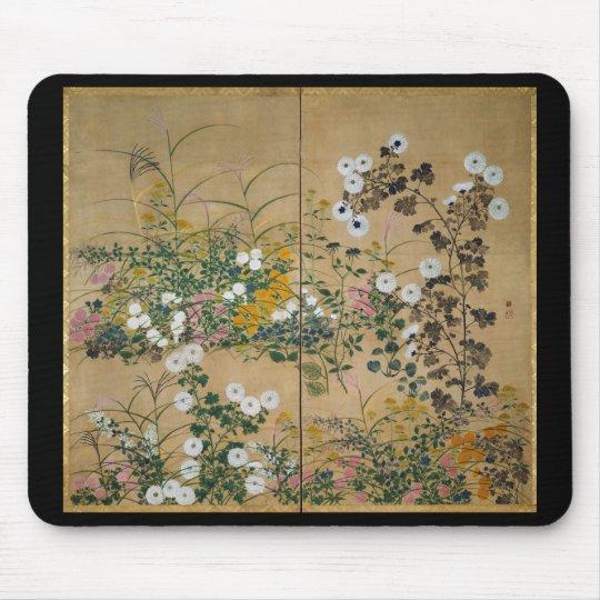 Flowering Plants in Autumn by Ogata Korin マウスパッド