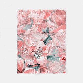 flowers2bflowersおよび鳥パターン#flowers フリースブランケット