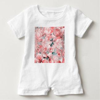 flowers2bflowersおよび鳥パターン#flowers ベビーロンパース