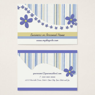 Flowers and Torn Blue Stripes Business Card 名刺