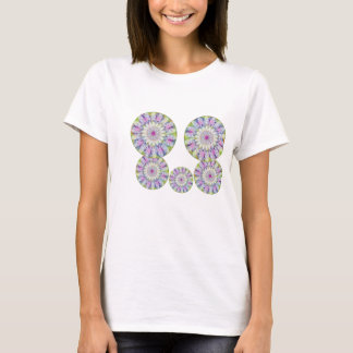 Flowral飛行ディスク- PurpleStar nの白の花模様 Tシャツ