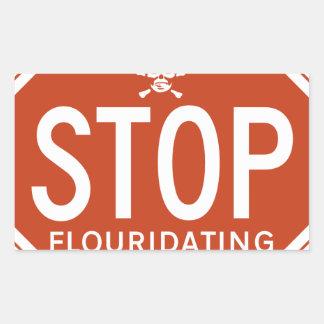 FLUORIDATING水を-フッ化物か実行主義または抗議ストップ 長方形シール