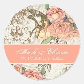 Flutterbyes 「nのバラのエレガントな結婚式用シール ラウンドシール