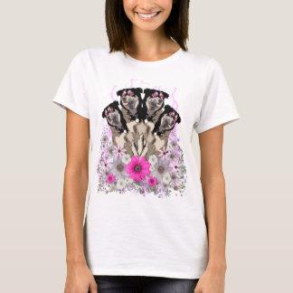 FNGの花いっぱいのハスキー Tシャツ