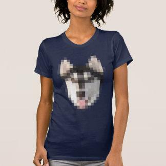 FNGピクセルハスキーの女性 Tシャツ