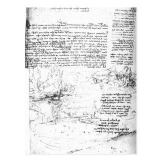 Fol.145v-aのDa Vinciのノートからのページ ポストカード