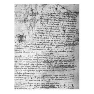 Fol.145v-bのDa Vinciのノートからのページ ポストカード