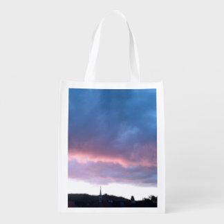 Foldaway再使用可能なバッグの青い雲の空 エコバッグ