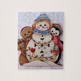 Folkartの雪だるま、ジンジャーブレッドマン、ペンギンのパズル ジグソーパズル