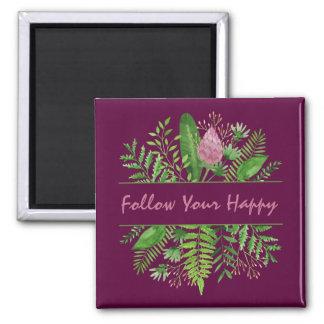 """Follow Your Happy"" Garden Botanical マグネット"