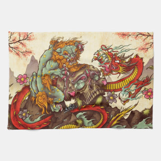 fooの犬およびドラゴンとのアジア場面 キッチンタオル