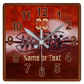 Football Clock, Football Bedroom Ideas Decorating スクエア壁時計