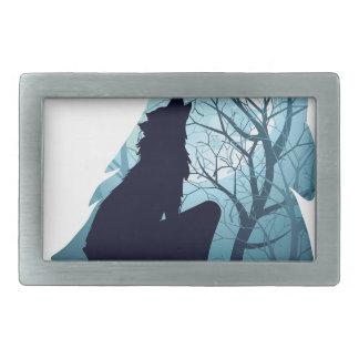 Forest2-01と遠ぼえしているオオカミ 長方形ベルトバックル