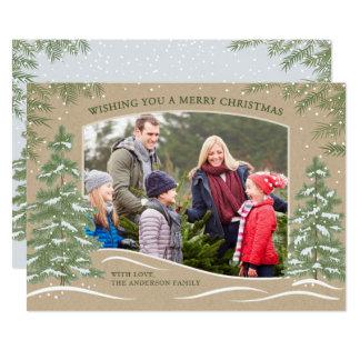Forest Snowfall Christmas Card Kraft カード