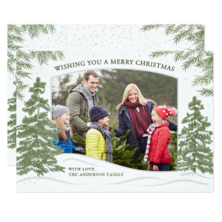 Forest Snowfall Christmas Card White カード