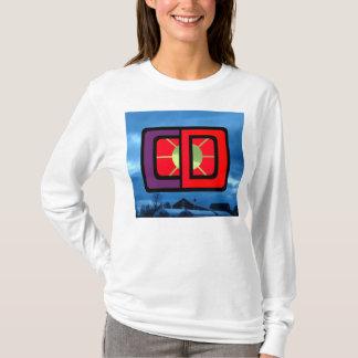 FORESTreeのCDロゴの空色のスエットシャツのフード付きスウェットシャツのwome Tシャツ