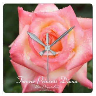 Forever Princess Diana:Rosa Elegant Lady Square Wall Clock