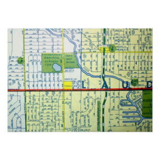 Fort LauderdaleのFLのヴィンテージの地図ポスター ポスター