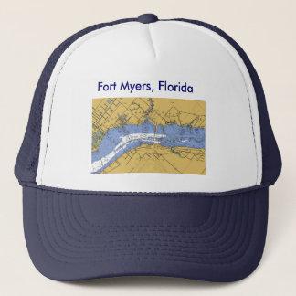 Fort Myersのフロリダ航海のな港の図表の帽子 キャップ