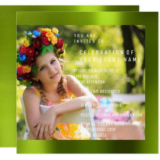 Fotoの誕生会のCaliの緑の金属 カード