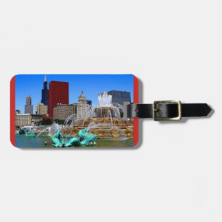 Fountains and Skyscraper Buildings Luggage Tag ラゲッジタグ