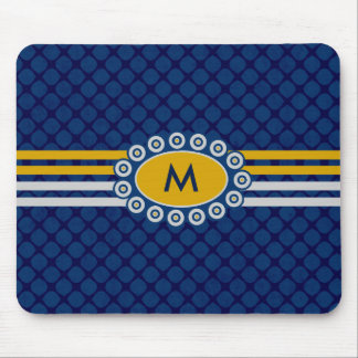 Four Stripes Monogram Blue and Gold ID207 マウスパッド