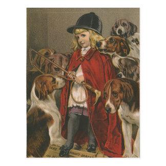 Foxhoundを持つ女の子 ポストカード