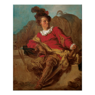 Fragonard著スペイン人として服を着る大修道院長 ポスター