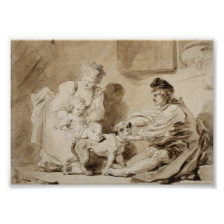 Fragonard著乗馬の最初レッスン ポスター