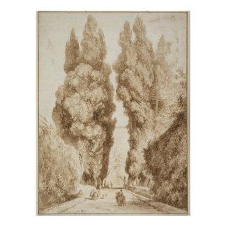 Fragonard著別荘d Este TivoliのCypressの道 ポスター