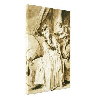 Fragonard著手紙(スペインのな会話) キャンバスプリント