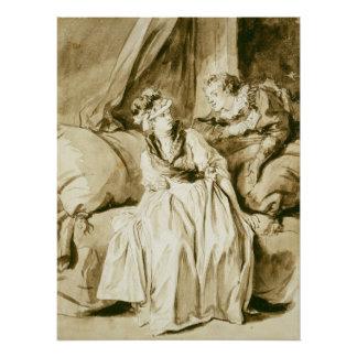 Fragonard著手紙(スペインのな会話) ポスター